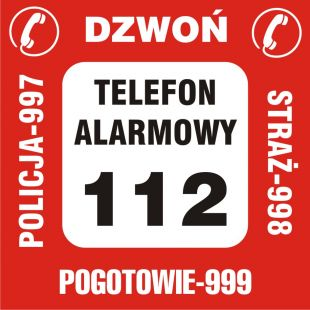 Nalepka na telefon - pogotowie 999, straż 998, policja 997, telefon alarmowy 112, dzwoń - DA005