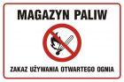 NC009 - Magazyn paliw. Zakaz używania otwartego ognia - znak zakazujący, informujący