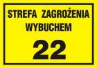 NC021 - Strefa zagrożenia wybuchem 22 - znak ostrzegający, informujący