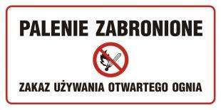 NE004 - Palenie zabronione-zakaz używania otwartego ognia - znak zakazujący