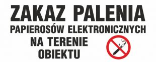 NE025 - Zakaz palenia papierosów elektronicznych na terenie obiektu - znak zakazujący, informujący
