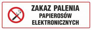 NE027 - Zakaz palenia papierosów elektronicznych - znak zakazujący, informujący