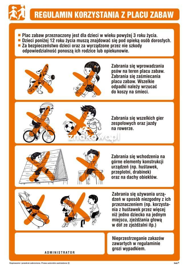 NG001 - Regulamin korzystania z placu zabaw - znak, tablica ...