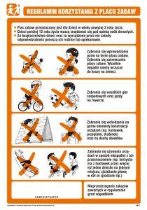 NG001 - Regulamin korzystania z placu zabaw - znak, tablica wojskowa - Regulamin placu zabaw