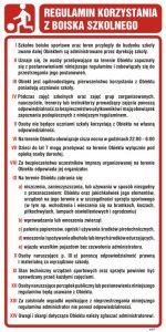 NG002 - Regulamin korzystania z boiska szkolnego - znak, tablica wojskowa - Regulamin placu zabaw