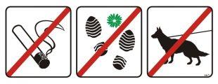 NG003 - Zakaz palenia tytoniu, deptania trawnika, wprowadzania psów - znak, tablica wojskowa