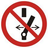 Nie przełączaj - znak bhp zakazujący - GAP031 - Zasady stosowania znaków bezpieczeństwa