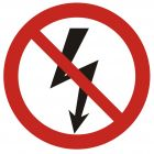 Nie załączać urządzeń elektrycznych - znak bhp zakazujący - GB005