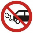 Nie zostawiać włączonych silników spalinowych - znak bhp zakazujący - GB006