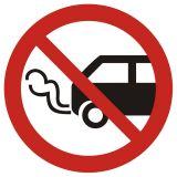 Nie zostawiać włączonych silników spalinowych - znak bhp zakazujący - GB006 - Warsztat samochodowy a wymogi BHP – bezpieczeństwo i znaki