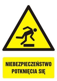Niebezpieczeństwo potknięcia się - znak bhp ostrzegający, informujący - GF038