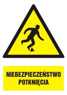 Niebezpieczeństwo potknięcia - znak bhp ostrzegający, informujący - GF021