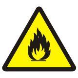 Niebezpieczeństwo pożaru - materiały łatwopalne - znak przeciwpożarowy ppoż - BA014 - Magazynowanie odpadów o właściwościach palnych