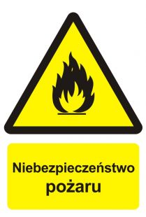 Niebezpieczeństwo pożaru - materiały łatwopalne - znak przeciwpożarowy ppoż - BC001