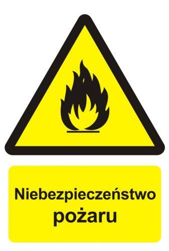 Niebezpieczeństwo pożaru - materiały łatwopalne - znak przeciwpożarowy ppoż - BC001 - Znaki uzupełniające ochrony przeciwpożarowej