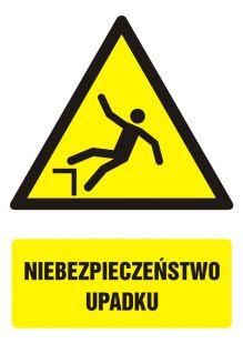 Niebezpieczeństwo upadku - znak bhp ostrzegający, informujący - GF023