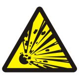 Niebezpieczeństwo wybuchu - materiały wybuchowe - znak przeciwpożarowy ppoż - BA016 - Norma PN-92-N-01256-01