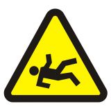 Niebezpieczeństwo wypadnięcia - znak, naklejka kolejowa - SD022 - Znaki do pociągów – oznakowanie stosowane w wagonach pasażerskich