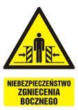 Niebezpieczeństwo zgniecenia bocznego - znak bhp ostrzegający, informujący - GF034 - Ostrzegawcze znaki BHP a zagrożenia w miejscu pracy