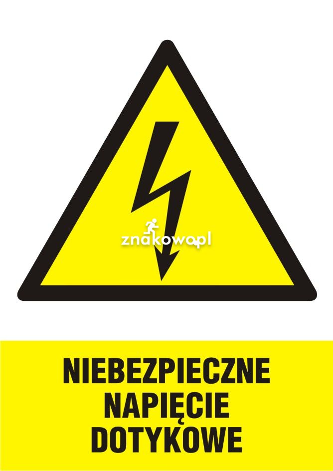 Niebezpieczne napięcie dotykowe - Plac budowy – znaki i tablice