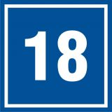 Numer 18 - znak informacyjny - PB518 - Tabliczka z numerem nieruchomości a przepisy: jak prawidłowo oznakować nowy dom?