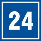 Numer 24 - znak informacyjny - PB524 - Tabliczka z numerem nieruchomości a przepisy: jak prawidłowo oznakować nowy dom?