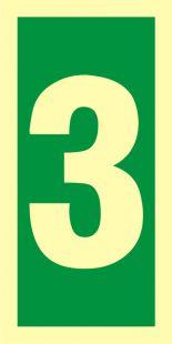Numer stacji ewakuacyjnych 3 - znak morski - FE004