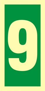 Numer stacji ewakuacyjnych 9 - znak morski - FE010
