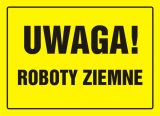 OA008 - Uwaga! Roboty ziemne - znak, tablica budowlana - Zapory drogowe U-20