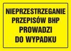 OA041 - Nieprzestrzeganie przepisów BHP prowadzi do wypadku - znak, tablica budowlana