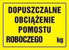 OA058 - Dopuszczalne obciążenie pomostu roboczego ... kg - znak, tablica budowlana