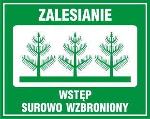 OB002 - Zalesianie - wstęp surowo wzbroniony - znak, lasy