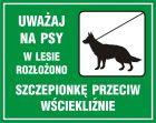 OB011 - Uważaj na psy  - wstęp do lasu wzbroniony - znak, lasy