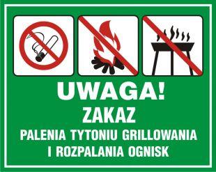 OB039 - Uwaga! Zakaz palenia tytoniu, grillowania i rozpalania ognisk - znak, lasy