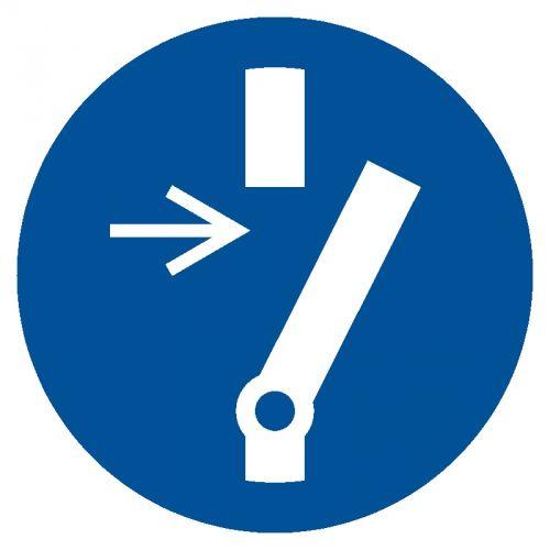 Odłącz przed przystąpieniem do konserwacji lub naprawy - znak bhp nakazujący, informujący - GJM021 - Bezpieczeństwo przy obsłudze maszyn