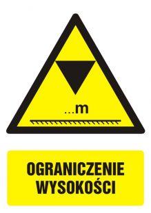 Ograniczenie wysokości - znak bhp ostrzegający, informujący - GF020