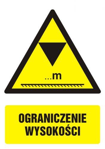 Ograniczenie wysokości - znak bhp ostrzegający, informujący - GF020 - Wysokość pomieszczeń pracy i powierzchni roboczej