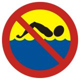 OH010 - Kąpiel zabroniona - znak, kąpieliska - Regulamin kąpieliska