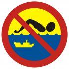 OH013 - Kąpiel zabroniona - szlak żeglugowy - znak, kąpieliska