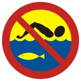 OH014 - Kąpiel zabroniona - hodowla ryb - znak, kąpieliska - Regulamin kąpieliska