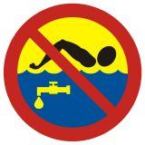OH015 - Kąpiel zabroniona - woda pitna - znak, kąpieliska - Regulamin kąpieliska