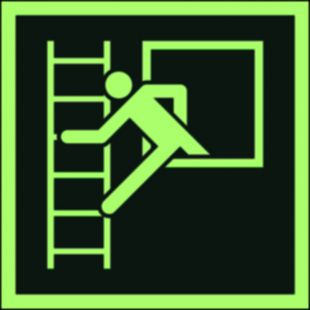 Okno ewakuacyjne z drabiną ewakuacyjną - znak ewakuacyjny - AAE016