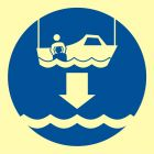 Opuścić na wodę łódź ratowniczą - znak morski - FC006