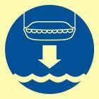 Opuścić na wodę łódź ratunkową - znak morski - FC004