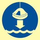 Opuścić na wodę tratwę ratunkową - znak morski - FC005