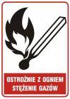 Ostrożnie z ogniem - stężenie gazów - znak bezpieczeństwa, informujący, gazociągi - JD003