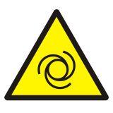Ostrzeżenie przed automatycznym uruchamianiem się - znak bhp ostrzegający - GDW018 - Zasady stosowania znaków bezpieczeństwa