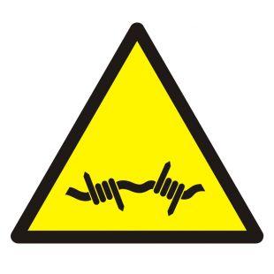 Ostrzeżenie przed drutem kolczastym - znak bhp ostrzegający - GDW033