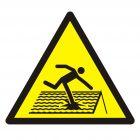 Ostrzeżenie przed kruchym dachem - znak bhp ostrzegający - GDW036