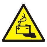 Ostrzeżenie przed ładowaniem baterii - znak bhp ostrzegający - GDW026 - Warsztat samochodowy a wymogi BHP – bezpieczeństwo i znaki